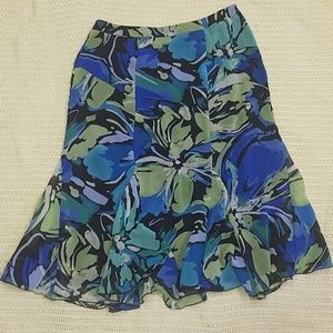 Flowy Floral Sheath Skirt with Insets